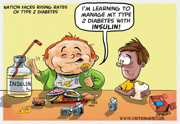 Nation Faces Risky Rise in Type 2 Diabetes Cartoon