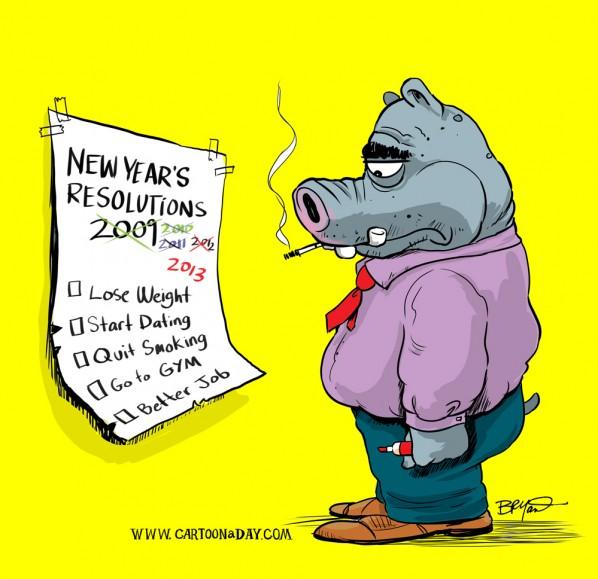 New Year's Resolution Cartoon Hippo Cartoon